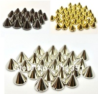 500pcs 8mmx6mm Black/Gold/Silver  Cone  Studs Spots Punk Rock Nailheads DIY Spikes Bag Shoes Bracelet