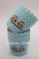 Free Shipping 400pcs Cute Owl With Blue Dot Scalloped Portion Nut Favor Baking Cup,Favor Cups,Nut Cups