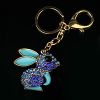 Rhinestone Rabbit Keychain IMG_6937 Lovely Key Ring for Women's and girls' 6pc/lot free shipping+Organza bag as gift