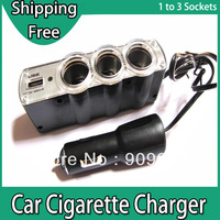 Triple Sockets USB Car Cigerette Charger  1 to 3 Way Auto Cigarette Plug Lighter Splitter 12V Free Shipping