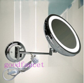 Free Shipping ! Luxury Dual Arm Extend mirror 8 inches magnifying round mirror with led light chrome finish single side