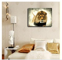 Free Hand-painted oil painting on canvas art prints  DIY Paint By Numbers Acrylic Drawing With Brush Paints Home Decorating Lion