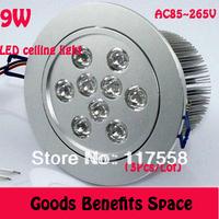 Free Shipping +3Pcs Wholesale 9W LED Ceiling Light Down light Recessed Spotlight 85~265V 900Lumens white Warm white