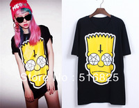 Plus size Loose cross Kpop BigBang G-dragon GD cotton cartoon Bart man head Simpson short sleeve tee T shirt  white black pink