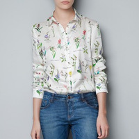 2013 New Top Brand Style Popular long sleeve Shirt FLOWER GRASS Print Women Chiffon Blouses, 1 color S, M, L size