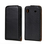 Vertical Flip Carbon Fiber Leather Case For Samsung Galaxy S i9000 / Galaxy S Plus i9001   + Free Shipping