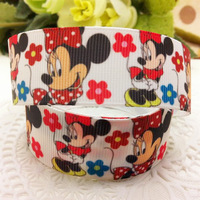 New Arrival 1'' (25mm) Lovely Minnie printed Grosgrain ribbon Polyester Cartoon Ribbon DIY haribow etc.accessories