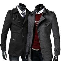 Men's long woolen trench coat Winter new casual design 125010 free shipping