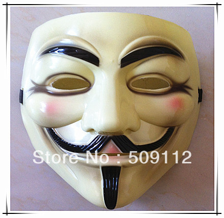 Free shipping for CPAM V vendetta team guy fawkes masquerade Halloween carnival Mask 45g,light yellow 1 pieces/lot(China (Mainland))