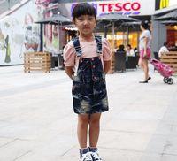 Free shipping  baby girls suspender denim dress,minnie cartoon strap jeans girls mini dress ,top quality children dress