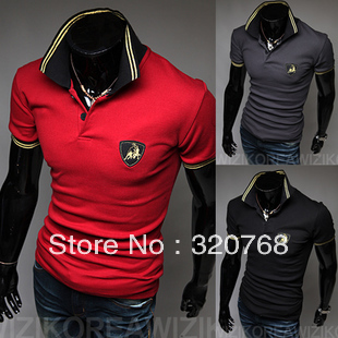 Free shipping new sports car logo men's short-sleeved shirt POLO high quality men'sT-shirt 3 color size M-XXL(China (Mainland))