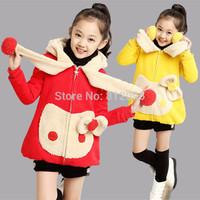 Retail hot sale children's girls clothes Autumn&winter warm coat cartoon hello kt outerwear LittleSpring GLZ-S0347 XLS