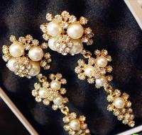 New bride detonation wave shining crystal, pearl, flower earrings