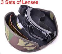 X800 3 lenses Military Tactical Combat Airsoft Ballistic BB Bulletproof Goggles Outdoor Eyewear Cycling  Antifog Sunglasses