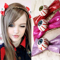 Free ship ON SALE 2013 new Zipper HARAJUKU Bow Headband Eyeball hairpins Hair Clips Eye balls