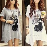 Free shipping Women Long Plus Size Top Dress Cotton Clothes Beauty Print Irregular Boundary T-shirt White Gray Blouse