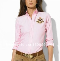 Fashion new shirt women Europe and   Ms shirts shirt female long-sleeved occupational embroidery Fine cotton Horse