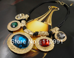 2013 New Arrival Unique New Design Gold Plated Crystal Multicolor Collar Choker Bib Statement Necklaces For Women(China (Mainland))