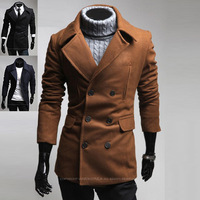 New casual Men large lapel personalized woolen coat men's overcoat 125025 free shipping