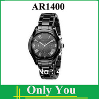 Free shipping New Mens Ceramic Black Chronograph Dial Quartz Wrist Watch AR1400 + Orignal Box