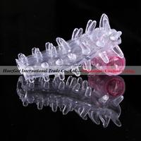 Wholesale 100pcs/lot caterpillar shape bump penis vibrating sex vibrator cock ring sleeve sex toys adult products XQ-018