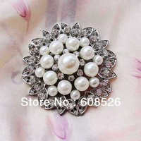 free shipping 1 piece white imitation pearl and rhinestone crystal large bridal brooch with pins on the back, wholesale, FB019