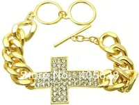 Fashion hot crystal cross chain bracelet, gold and silver color
