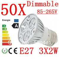 50X High power CREE E27 3x3W 9W 220V Dimmable Light lamp Bulb LED Downlight Led Bulb Warm/Pure/Cool White free shipping