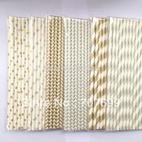 DHL Shipping Free shipping 1800pcs Paper Straws,Stripe Paper Straws, Drinking Paper Straws Party Paper Straws Silver/Gold color