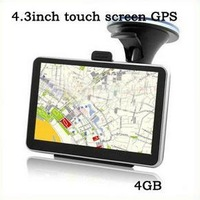 Hot sale 4.3 inch Touch SCREEN FM GPS navigation MediaTek Win CE6 free MAP+4GB flash mermory 4.3'' YC-Q8 free shipping