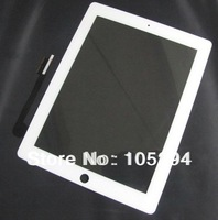Free Shipping Brand New For iPad 3/4 White Touch  Digitizer Screen Glass Spair Parts Replacement