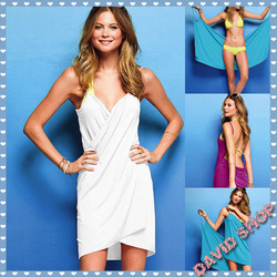 Free shipping 2013 Summer Women's solid Bikini dress, holiday Beach skirt casual dress.Beach wrap skirt(China (Mainland))