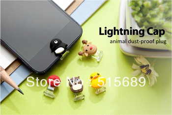 50PCS  mini Cute Animal dustproof plug/USB Lightning Cap for Ihpone5//Ipad4/Ipod5/Ipad Mini Free shipping by DHL