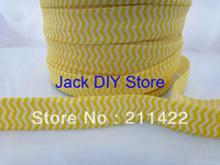 New Arrival Yellow Chevron FOE Fold Over Elastic 50 Yards 1.5cm Foldover elastic for headband Hair Accessories Free Shipping