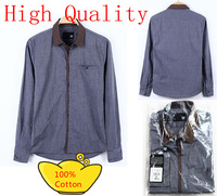 2013 new  top quality korea style  men's fashion leisure long-sleeved pure  cotton pointy-collared shirt size XS-XXL AY066