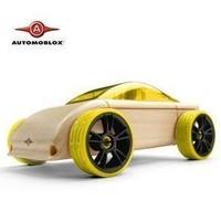 Automoblox mini car beech assembled cars wooden toys yellow lemon pink