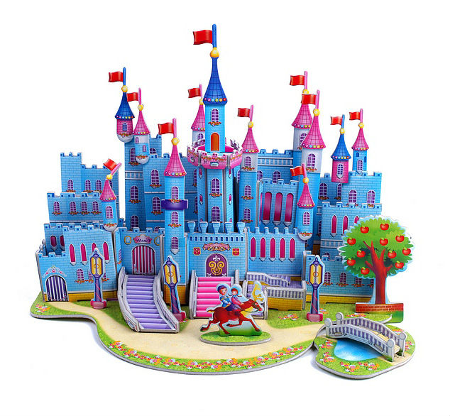 The puzzle educational toys paper model 3d puzzles for kids diy - blue castle(China (Mainland))