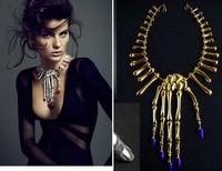 2013 New Fashion Punk Goth Skeleton Skull Slave Bones Talon Hand Pendant Choker Necklace GAGA Style Free Drop Shipping