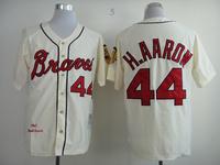 HOT 44# H.AARON Cream Jerseys atlanta braves Baseball Jersey  Embroidery logos 1963 throwback Mix Order Size 48-56