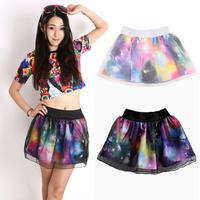 New 2015 Spring Summer Free Shipping Fashion Galaxy Digital Print Sheer Organza Mini Ball Gown Flare Skirt Women's Skirt 33503