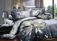 FedEx Free shipping! 2013 New Arrival 3D flower 100% cotton bedding sets 4pcs oil painting landscape