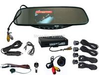 "DHL Free Shipping New Fashion Car 3.5"" Bluetooth Mirror Monitor&Flush Mount Reverse Camera 4 Sensors Reversing Assistance System"