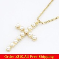 Min Order $10(Mix Items)Gold Plated Cross Shape Imitated Pearl Pendant Necklace for Women Wholesale Jewelry