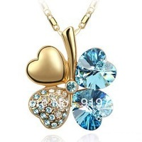 Free shipping Promotion gift Four Leaf Clover Crystal necklace special offer necklaces fashion 8 colors