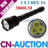 FS! Trustfire 3T6 Flashlight 5 Mode 3800 Lumens 3x CREE XM-L T6 LED Flashlight Extendable High Power Torch (CN-3T6) [CN-Auction