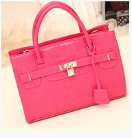 Free shipping HOT Sale 2014 lock bag platinum package fashion brand tote bag handbag women's handbag