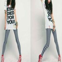 New!! Women's Wholesale  Lady Art Sexy Black & White Strip Printing Leggings Pants Leggins Legging Drop Shipping S103-28