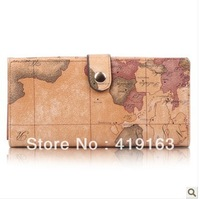 B.angel 2013 New arrival PVC brand designer fashion vintage map women's wallet medium-long wallet b002a