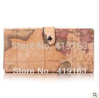 Free shipping B.angel 2014 New arrival PVC brand designer fashion vintage map women's wallet medium-long wallet b002a