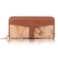 Free shipping 2014 B.Angel PVC fashion vintage map  women's wallet, medium-long zipper wallet b004a